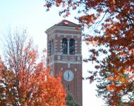 campanile with fall foliage