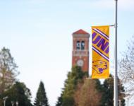 UNI Banner with the Campanile in Background
